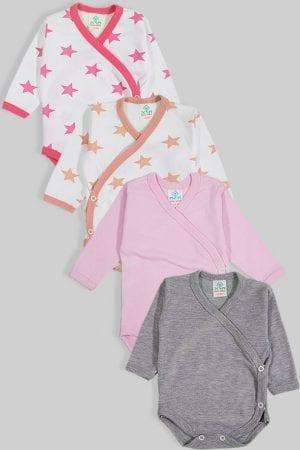 רביעיית בגדי גוף מעטפת פלנל - חלק כוכבים - ורוד אפור (0-3 חודשים)