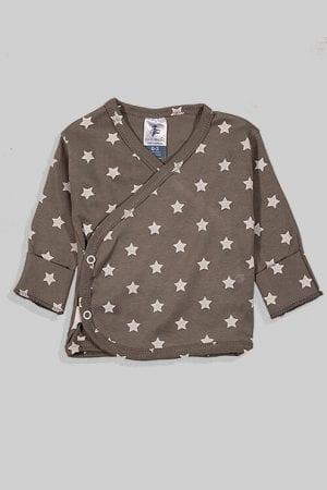חולצת מעטפת עם כפפה פלנל - בסיס אפור כוכבים (0-3 חודשים)