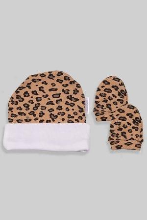 כפפות וכובע לתינוק - מנומר (0-3 חודשים)