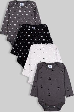 רביעיית בגדי גוף פלנל - איקסים חצים ואוהלים - שחור אפור לבן (0-2.5 שנים)