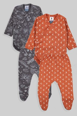 שני סטים בגדי גוף מעטפת ורגליות פלנל - פרחים משולשים - אפור חום (0-3 חודשים)