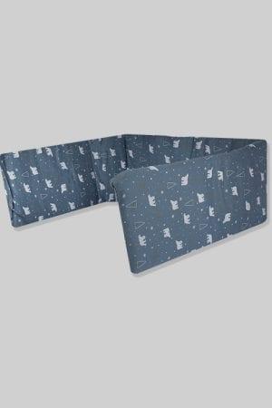 מגן ראש למיטת תינוק - בסיס כחול דובים