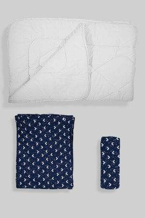 שמיכת פוך לתינוק + ציפה + סדין - בסיס כחול משולשים