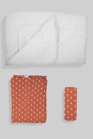 שמיכת פוך לתינוק + ציפה + סדין - בסיס חום בהיר משולשים
