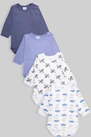 רביעיית בגדי גוף פלנל - זברות חלק ועננים - תכלת כחול לבן ושחור