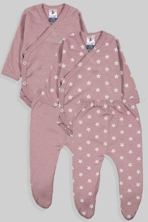 שני סטים בגדי גוף ורגליות לתינוק מעטפת טריקו - חלק כוכבים - סגול (0-3 חודשים)