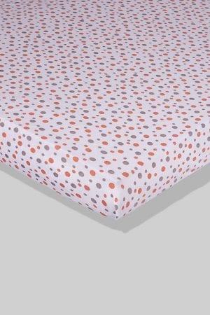 סדין לתינוק - לבן נקודות - מיטת תינוק/מיטת מעבר | עריסה