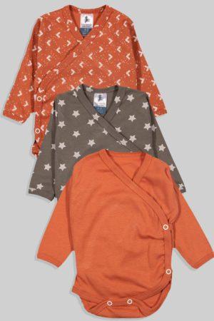 שלישיית בגדי גוף לתינוק מעטפת טריקו - משולשים כוכבים חלק (0-3 חודשים)