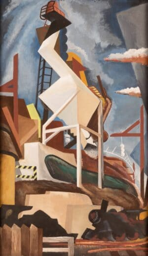 Benton Spruance, Design for America, signed oil painting for sale.