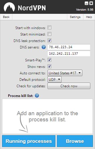 NordVPN settings