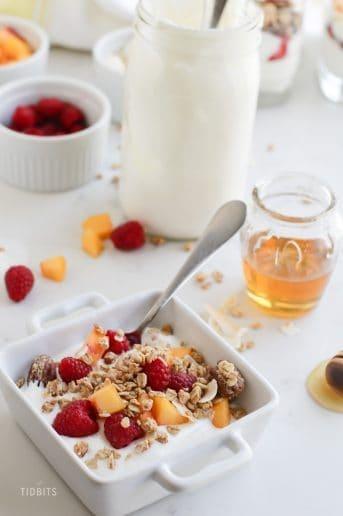 Pressure cooker yogurt on a breakfast table