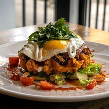 Tamale Waffle from Bruncheonette brunch spots in spokane