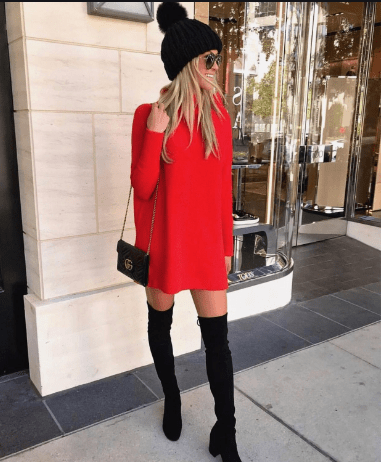 Red Dress with Boots, Sandals, and Black Heels