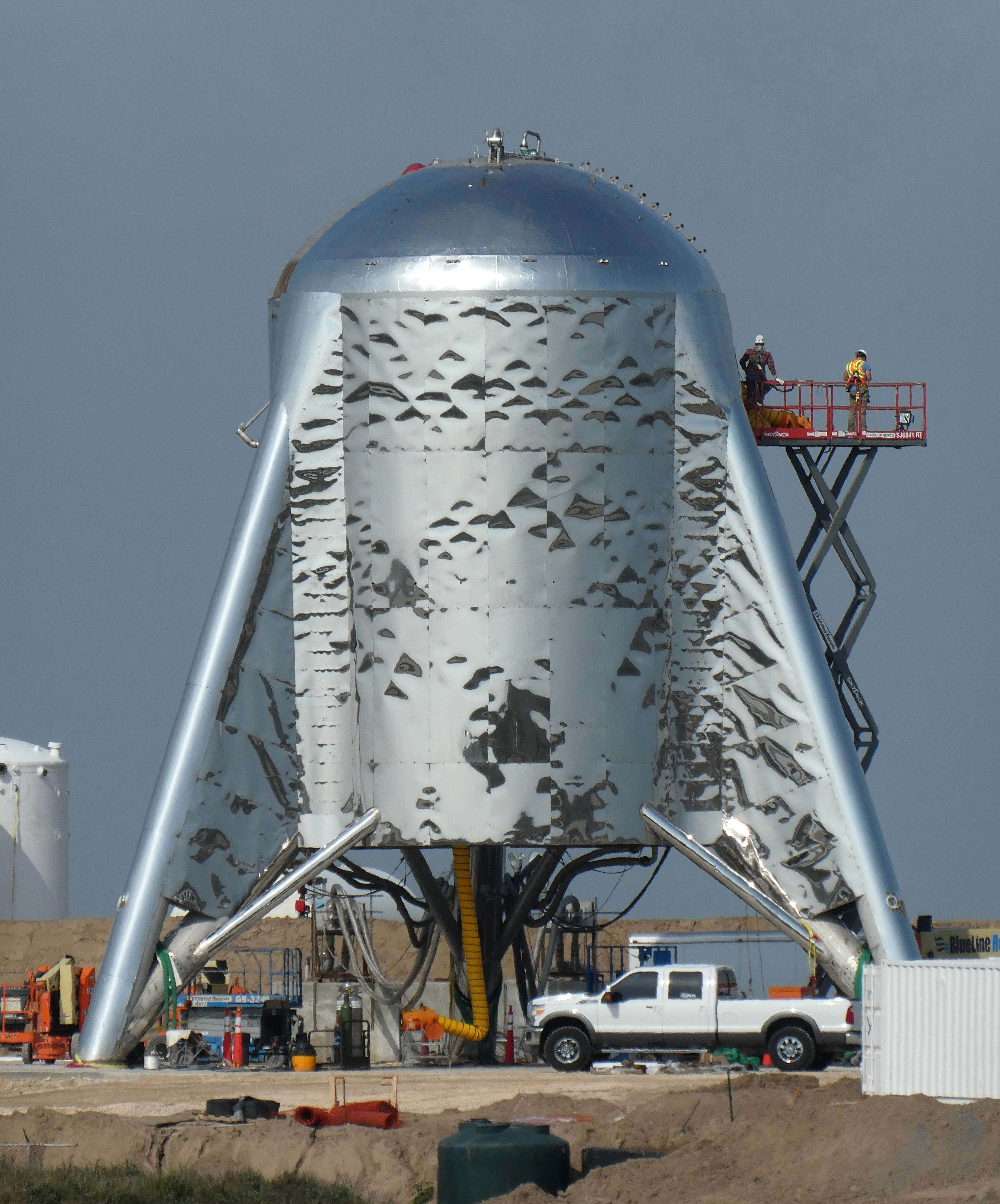 Prototype of SpaceX's Starhopper starship at the SpaceX launch site in Texas. (Image Credit: Nomadd, forum.nasaspaceflight.com)