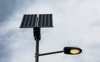 Solar panel on street lamp post