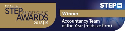 STEP Private Client Awards 2018/19 Winner - Accountancy Team of the Year (midsize firm)