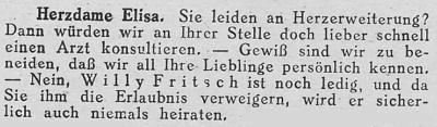 Zeitungsausschnitt: Willy Fritsch wird Ihretwegen niemals heiraten.