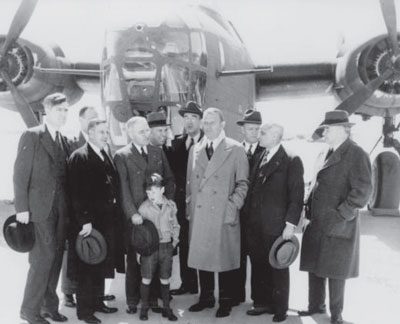 The Truman Committee at the airport after visiting the Ford Motor Company in April 1942.