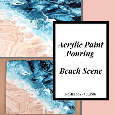 Acrylic Pour Painting Beach Scene for Beginner