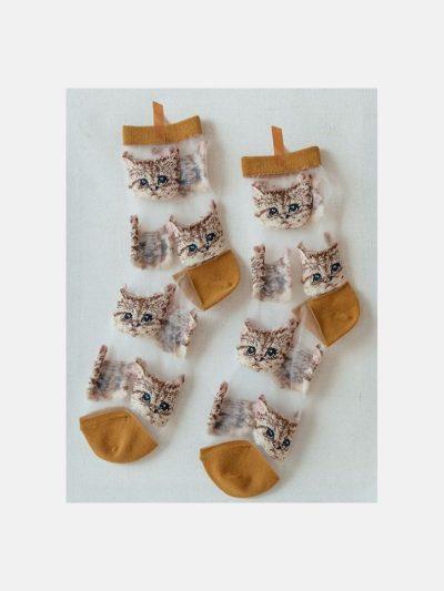 calcetines malla kitten mostaza