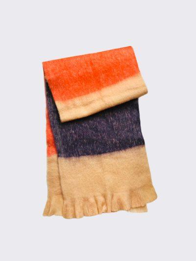 Bufanda Tricolor Naranja-Toffee-Mocca doblado