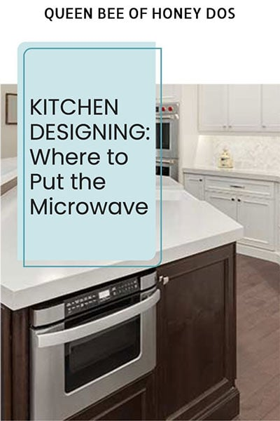 pinnable image with text of a microwave drawer inside an island