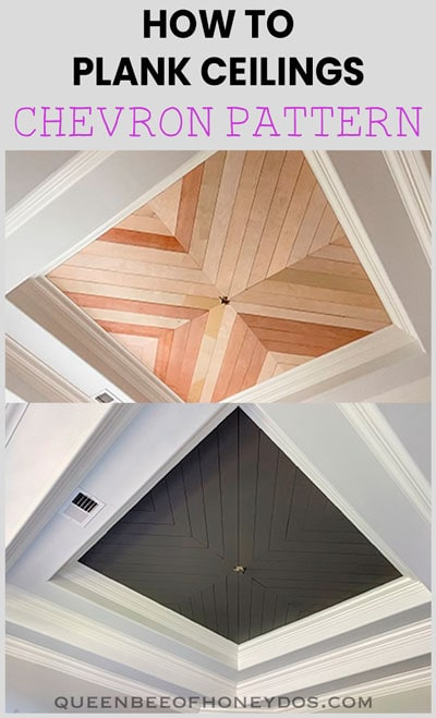 Before and after paint on chevron plank ceiling