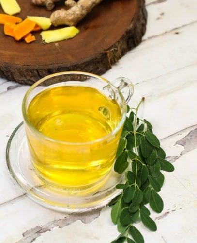 close up of moringa tea recipe