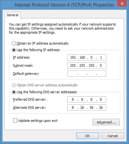 TCP/IPv4 adapter settings