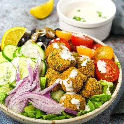Air Fryer Falafel Salad Bowl