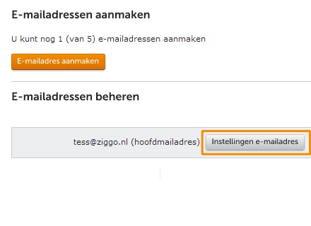 Klik op 'Instellingen e-mail adres' om een nieuw wachtwoord in te geven.