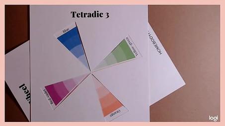 tetradic color scheme on color wheel:  blue, orange, yellow-green, red-violet