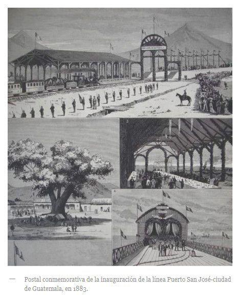 Postal de la inauguración de Ferrocarril en Guatemala