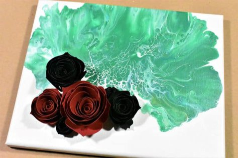 Acrylic Paint Pouring with 3D Flowers