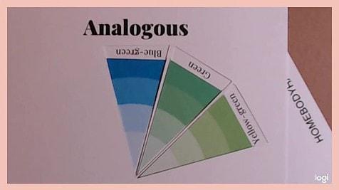 analogous color scheme on color wheel:  blue green, green, yellow-green
