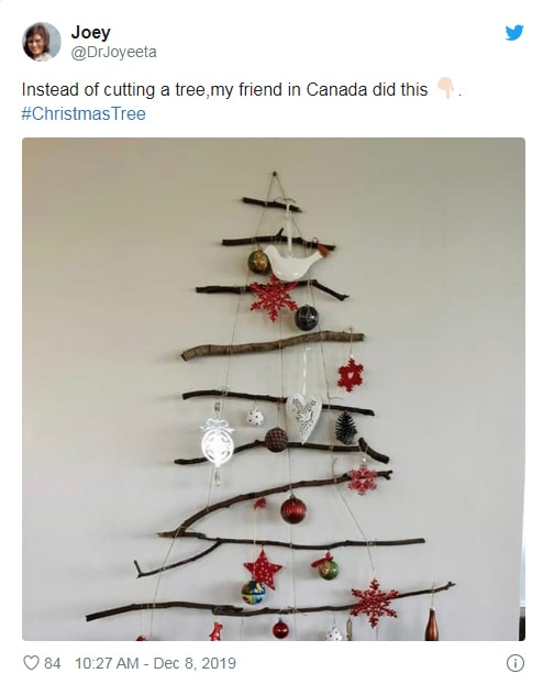 Christmas tree from branches and sticks
