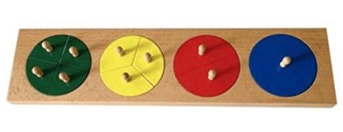 Montessori-Store Cercles des Fractions de 1 à 4