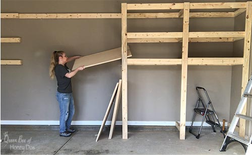 adding plywood to garage shelves