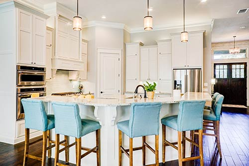 kitchen with white shaker cabinets