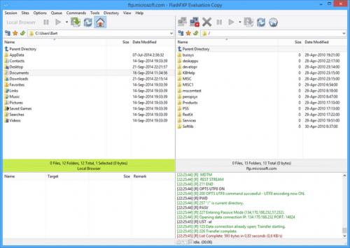 Het 'startscherm' van FlashFXP.