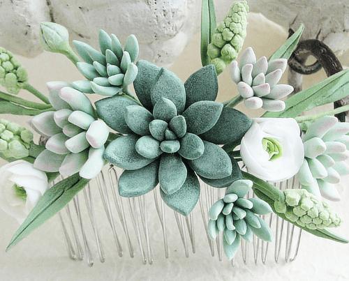 hair accessory Green Succulent Comb