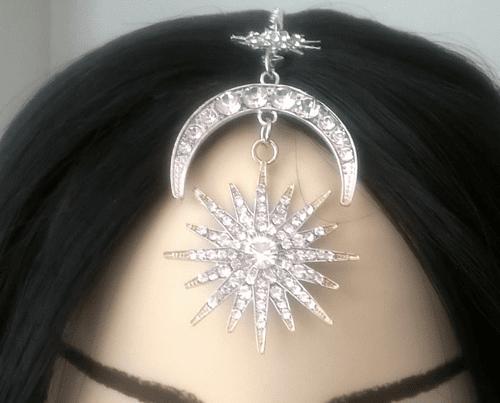 hair accessory Silver Moon Star Rhinestone Headpiece