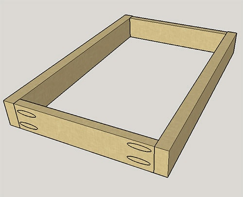 diagram of frame using pocket hole joinery