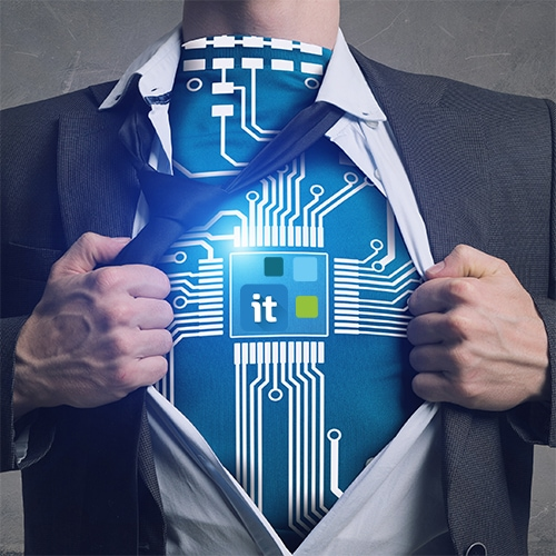 Business man rips off his shirt on the chest and shows Move-IT Technology logo.
