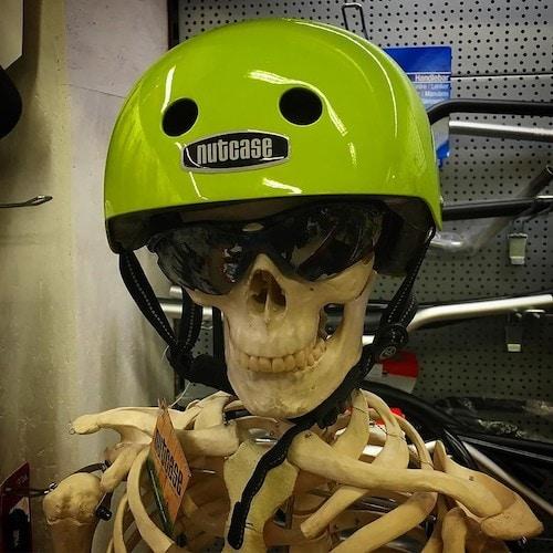 Nutcase helmet on a skeleton mannequin