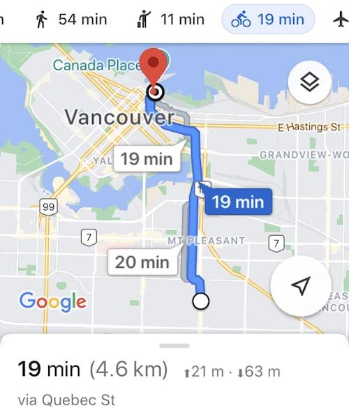 Screenshot of Google Maps showing a 4.6 km bike commute