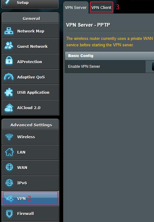 Go to ASUSWRT VPN Settings