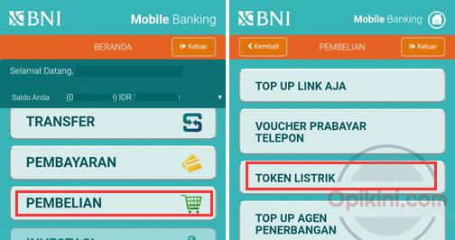 Cara Isi Token Listrik Via BNI Mobile