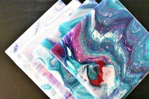 DIY Coasters Acrylic Pouring