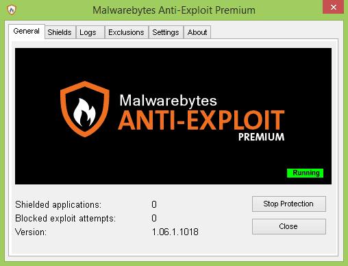 Een schermafbeelding van malwarebytes anti-exploit.